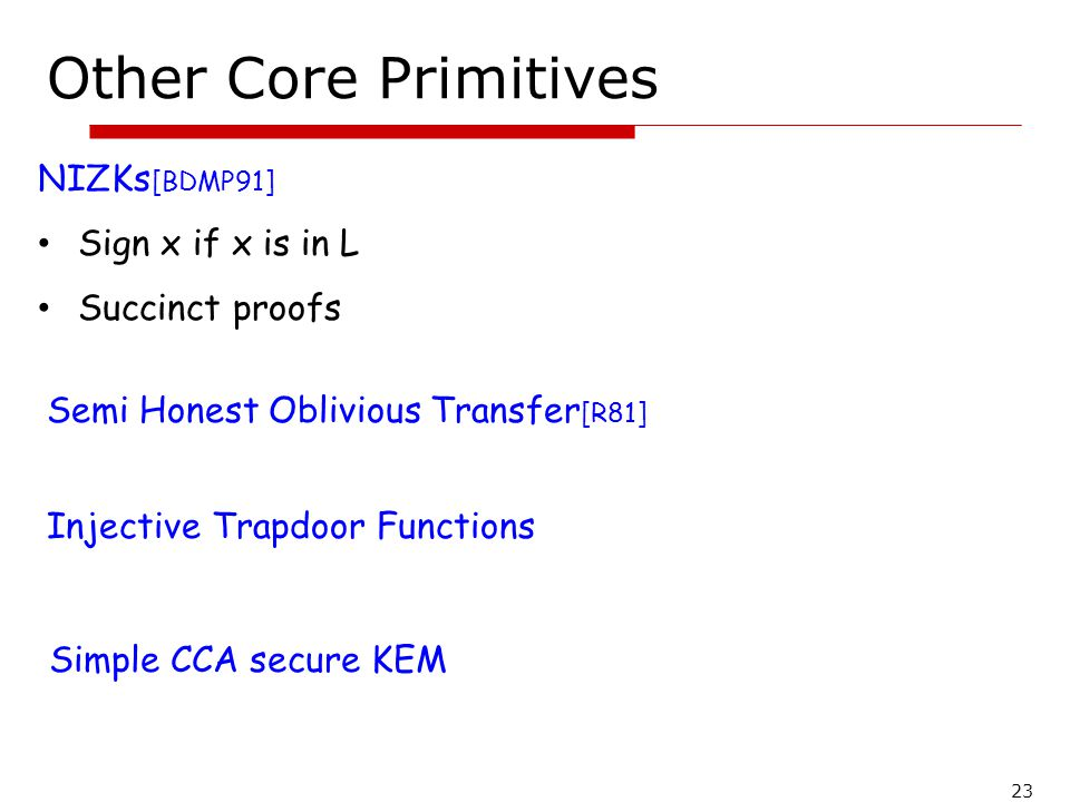 Other Core Primitives NIZKs[BDMP91] Sign x if x is in L